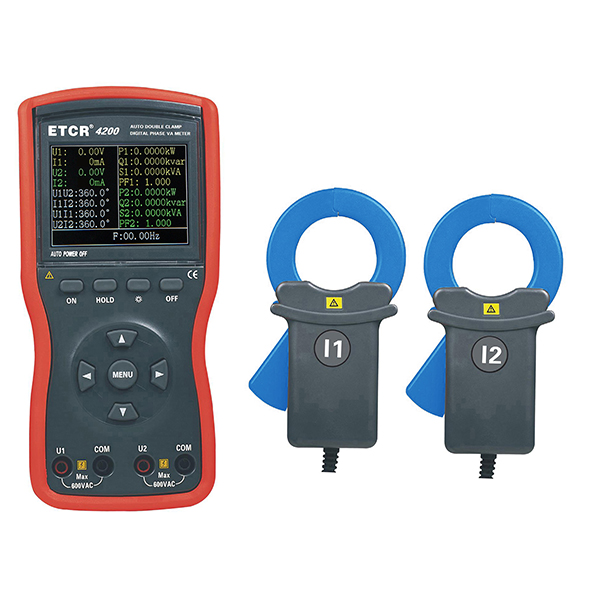 ETCR4200 Large Caliber Double Clamp Digital Phase Voltmeter -etcr